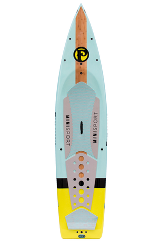 "Pau Hana Surf Supply 10'10"" Minisport 2016 Stand Up Paddle Board (in TEAL & NEON) (Front View)"
