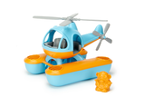 Green Toys Seacopter (Color: Light Blue & Orange) (Front View with included Bear Pilot Toy standing beside the Seacopter)