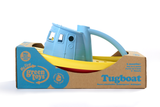 Green Toys Tugboat in product packaging (Colors: blue handle, yellow & red hull) (Side View)