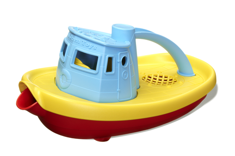 Green Toys Tugboat (Colors: blue handle, yellow & red hull) (Front/Side View)