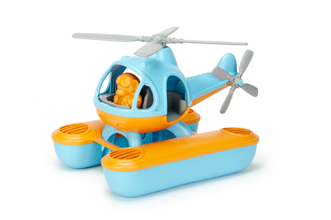 Green Toys Seacopter (Color: Light Blue & Orange) (Front View with included Bear Pilot Toy sitting in the cockpit)