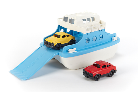 Green Toys Ferry Boat and Mini Cars (Colors - Ferry Boat: white & light blue; Mini Cars: 1 red & 1 yellow) (Front/Side View)