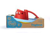 Green Toys Tugboat in product packaging (Colors: red handle, yellow & blue hull) (Side View)