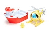Green Toys - Rescue Boat & Helicopter (COLORS - Rescue Boat: Red & White; Helicopter: Yellow; Bear Captain: light blue; Duck Captain: yellow) (Front view Rescue Boat and Helicopter placed next to each other, with included toy duck captain standing beside rescue boat and toy bear captain sitting in helicopter)