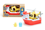 Green Toys - Rescue Boat & Helicopter (COLORS - Rescue Boat: Red & White; Helicopter: Yellow; Bear Captain: light blue; Duck Captain: yellow) (Front view of Rescue Boat and Helicopter in packaging, next to a second Rescue Boat and Helicopter unpackaged)