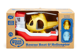 Green Toys - Rescue Boat & Helicopter (COLORS - Rescue Boat: Red & White; Helicopter: Yellow; Bear Captain: light blue; Duck Captain: yellow) (Front view of Rescue Boat and Helicopter in packaging along with toy Bear and Duck Captains)