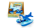 Green Toys Seaplane Safe Seas Set in product packaging next to second unpackaged seaplane (Colors: Blue & Light Blue) (Front View)