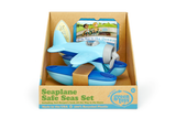 Green Toys Seaplane Safe Seas Set in product packaging (Colors: Blue & Light Blue) (Front View)