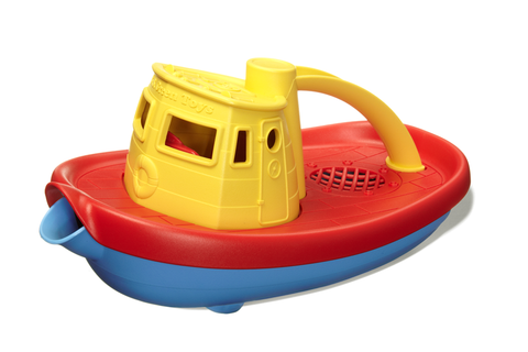 Green Toys Tugboat (Colors: Yellow handle, blue & red hull) (Front/Side View)