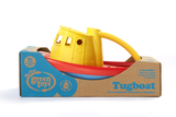 Green Toys Tugboat in product packaging (Colors: Yellow handle, blue & red hull) (Side View)