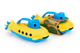 Green Toys Packaged Submarine and Unpackaged Submarine (Color: yellow & blue) (Side View)