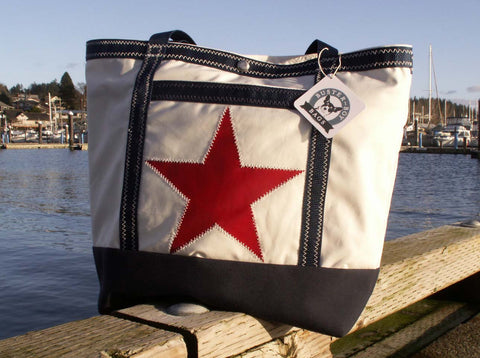 recycled sail star tote bag