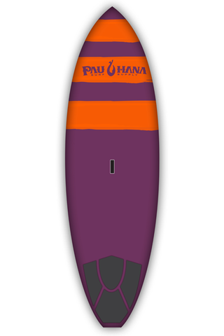 "Pau Hana Surf Supply 8'6"" Carve Stand Up Paddle Board (Color: Purple with Orange Stripes) (Front View)"