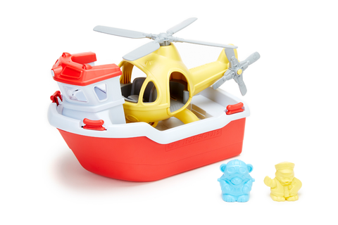 Green Toys - Rescue Boat & Helicopter (COLORS - Rescue Boat: Red & White; Helicopter: Yellow; Bear Captain: light blue; Duck Captain: yellow) (Front view with included toy animals standing beside rescue boat and helicopter)