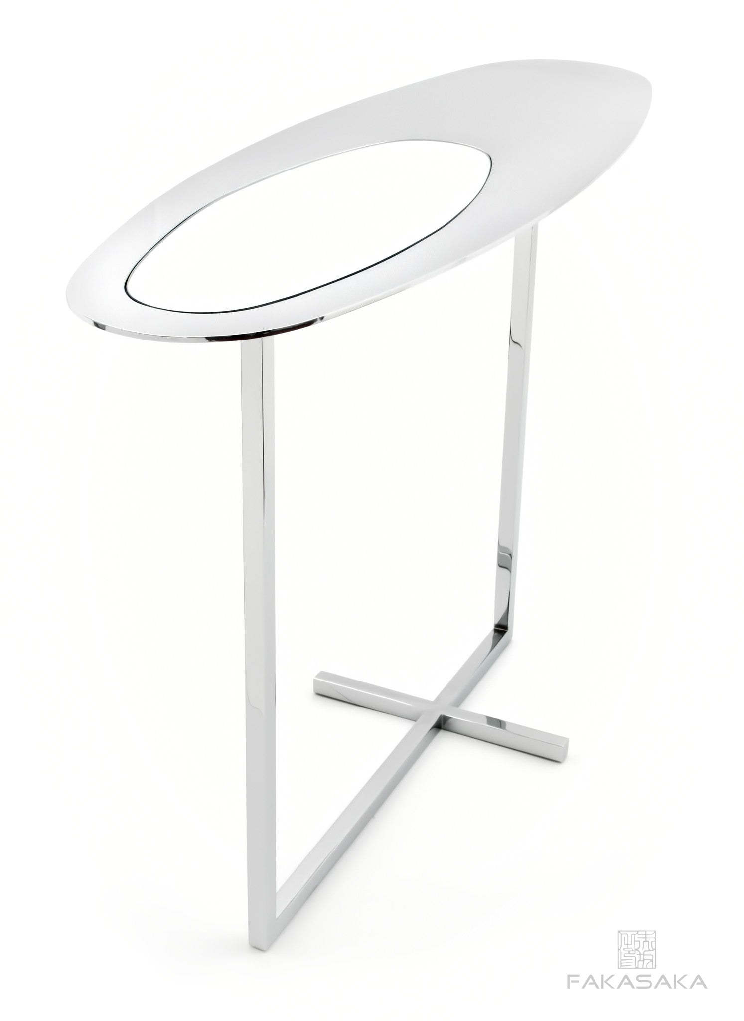 FA24 SIDE TABLE / DRINK TABLE<br><br>MIRROR ON TOP<br>CHROMED