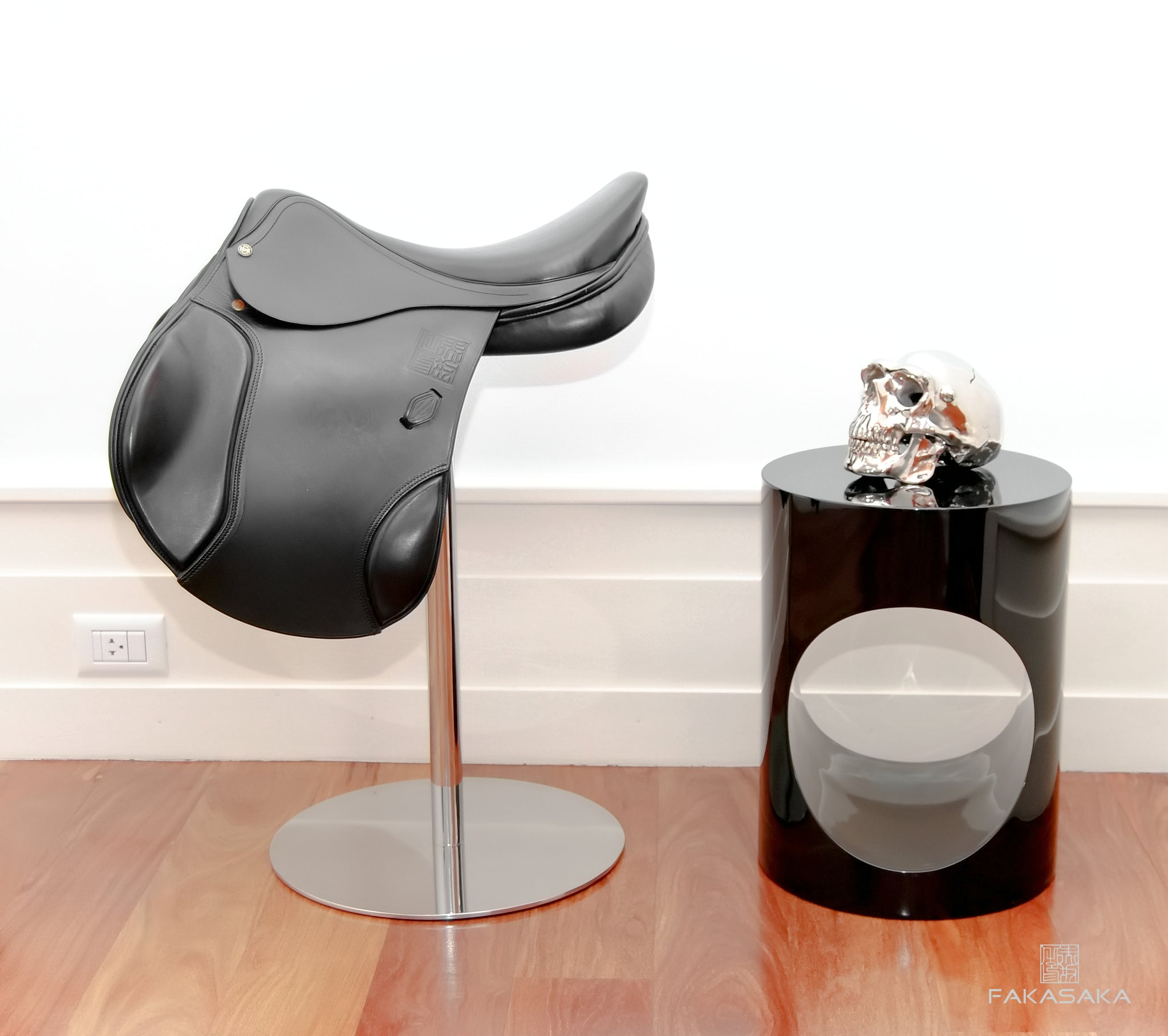 "COWBOY JUNKIE STOOL <br><br>""HENRI DE RIVEL"" BLACK SADDLE"