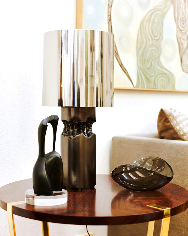 METAL HEART 1 TABLE LAMP<br><br>DARK BRONZE<br>NICKEL SHADE