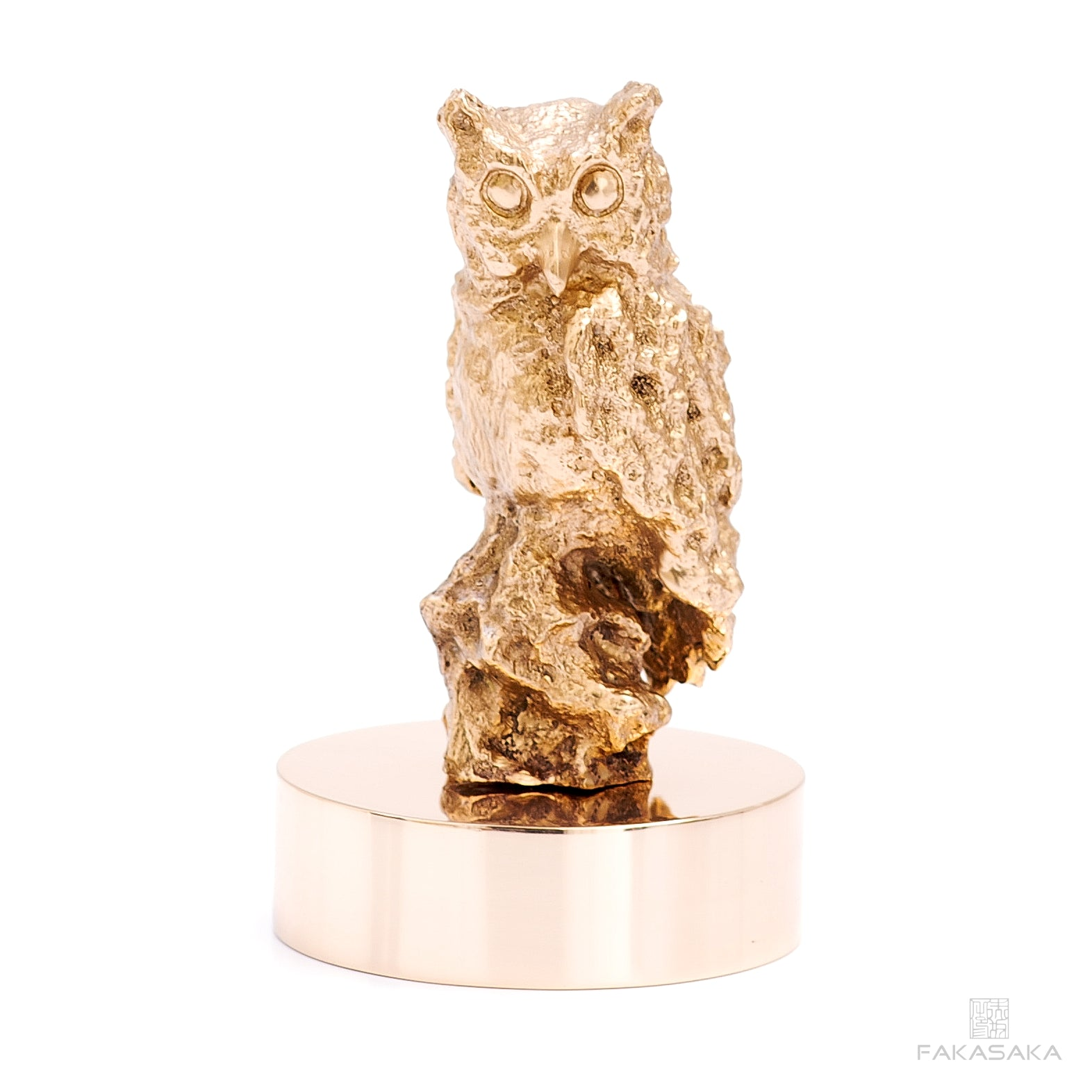 OWL SCULPTURE / PAPER WEIGHT<br><br>POLISHED BRONZE<br>BRONZE BASE