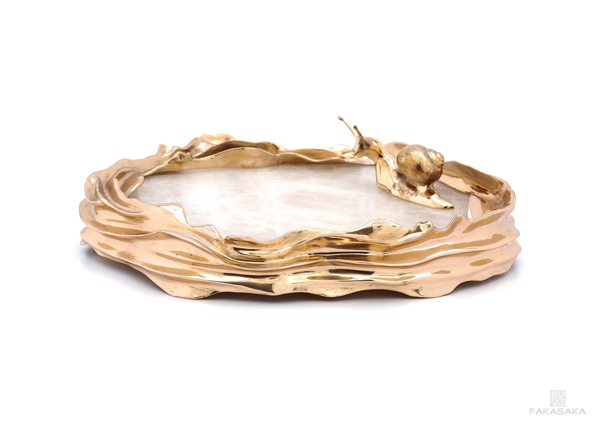 DEAR SONIA BOWL / CENTERPIECE<br><br>TRANSLUCENT ONYX<br>POLISHED BRONZE