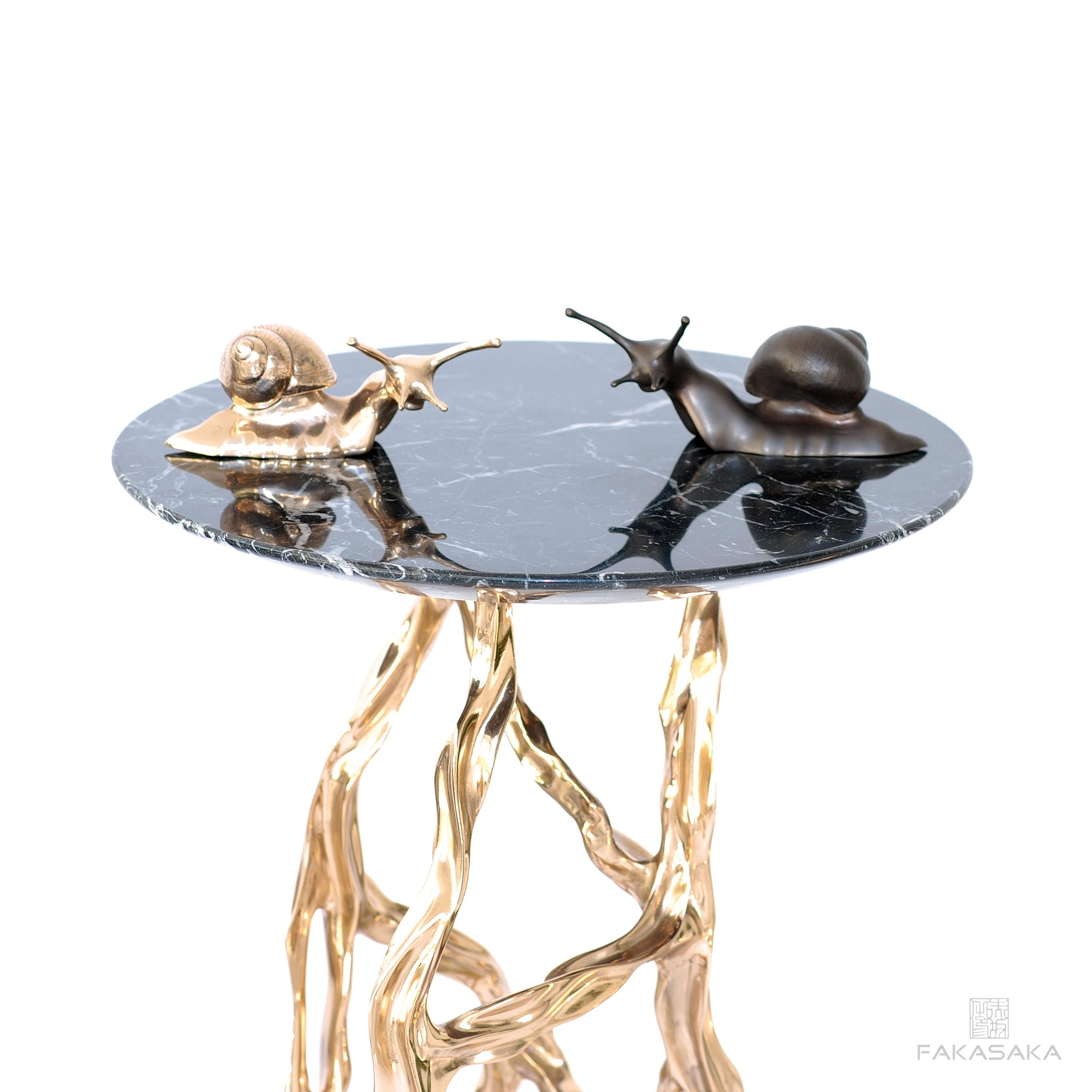 RONNIE DRINK TABLE <br><br>NERO MARQUINA<br>POLISHED BRONZE