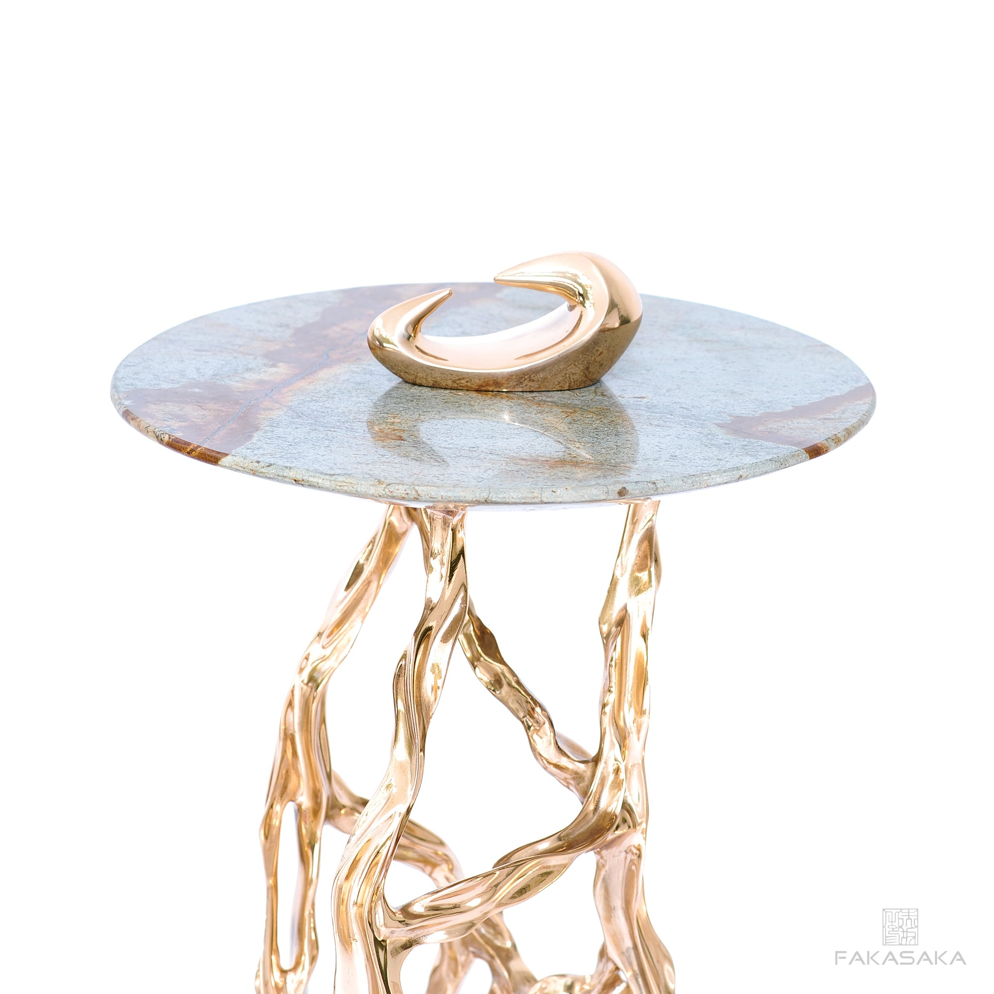 ALEXIA DRINK TABLE <br><br> BLUE MARE QUARTZITE <br> POLISHED BRONZE