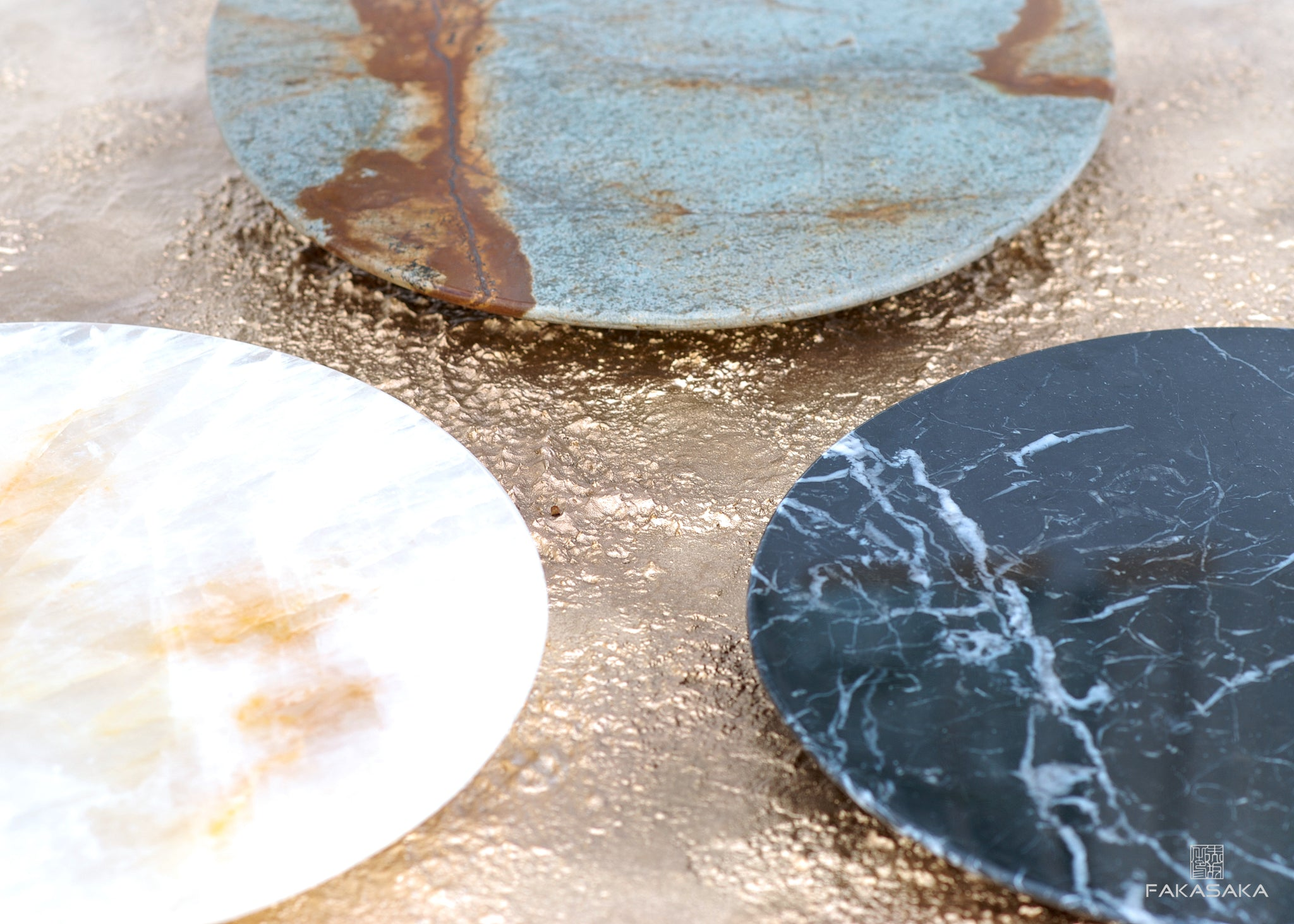 RONNIE DRINK TABLE <br><br>BLUE MARE QUARTZITE<br>POLISHED BRONZE