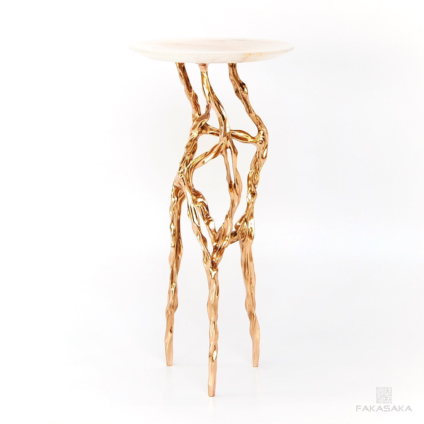 ALEXIA DRINK TABLE<br><br>TRANSLUCENT ONYX<br>POLISHED BRONZE