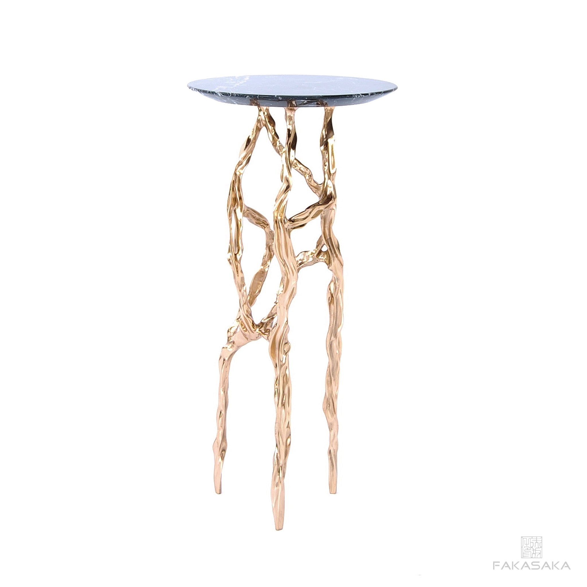 ALEXIA DRINK TABLE<br><br>NERO MARQUINA MARBLE<br>POLISHED BRONZE