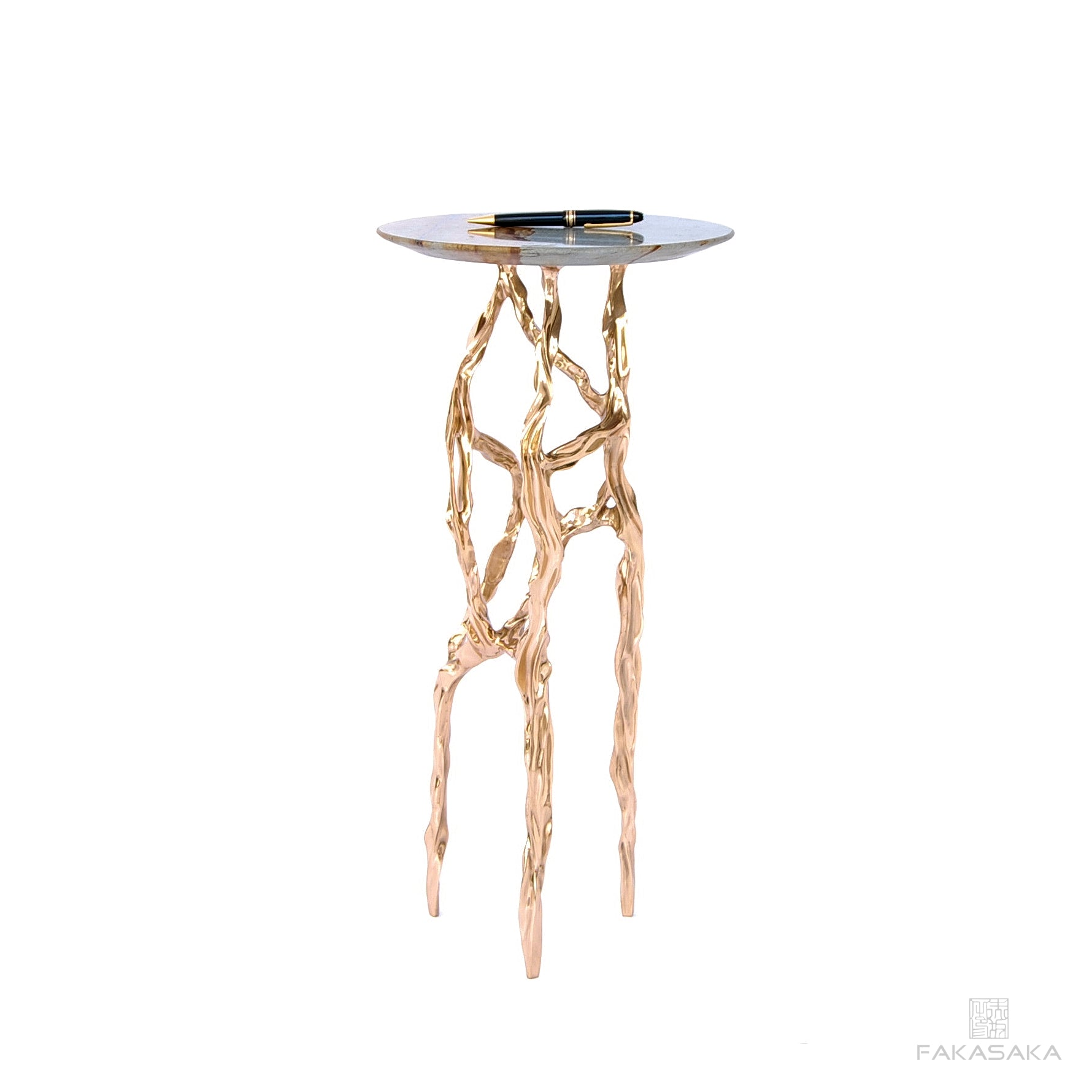 ALEXIA DRINK TABLE<br><br>BLUE MARE QUARTZITE<br>POLISHED BRONZE