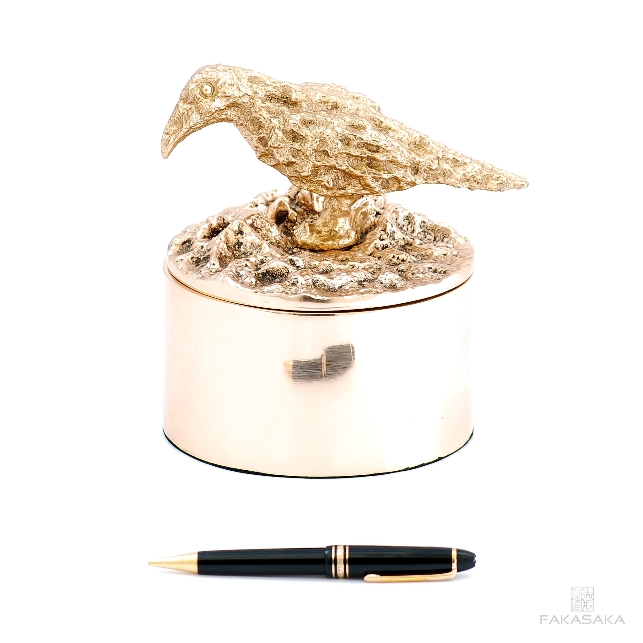 REM BOX<br>BLACKBIRD ON TOP<br><br>POLISHED BRONZE