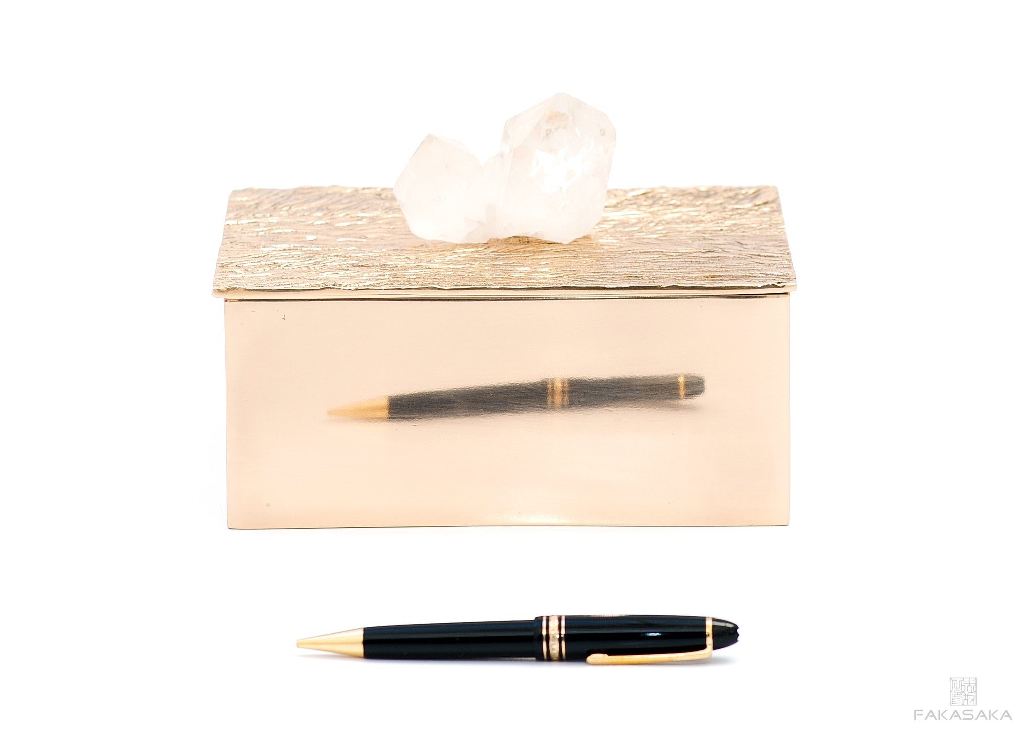 NICKS BOX<br>CLEAR QUARTZ ON TOP<br><br>POLISHED BRONZE