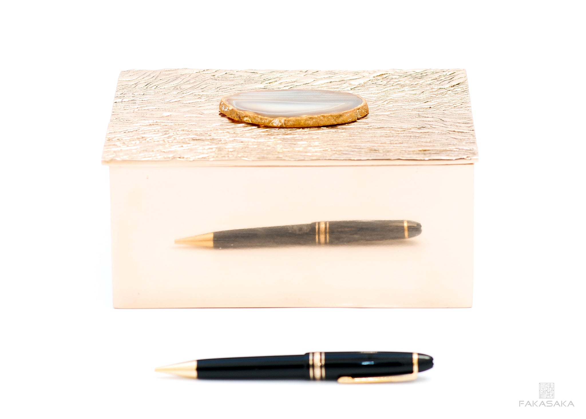 NICKS BOX<br>AGATE CRYSTAL ON TOP<br><br>POLISHED BRONZE