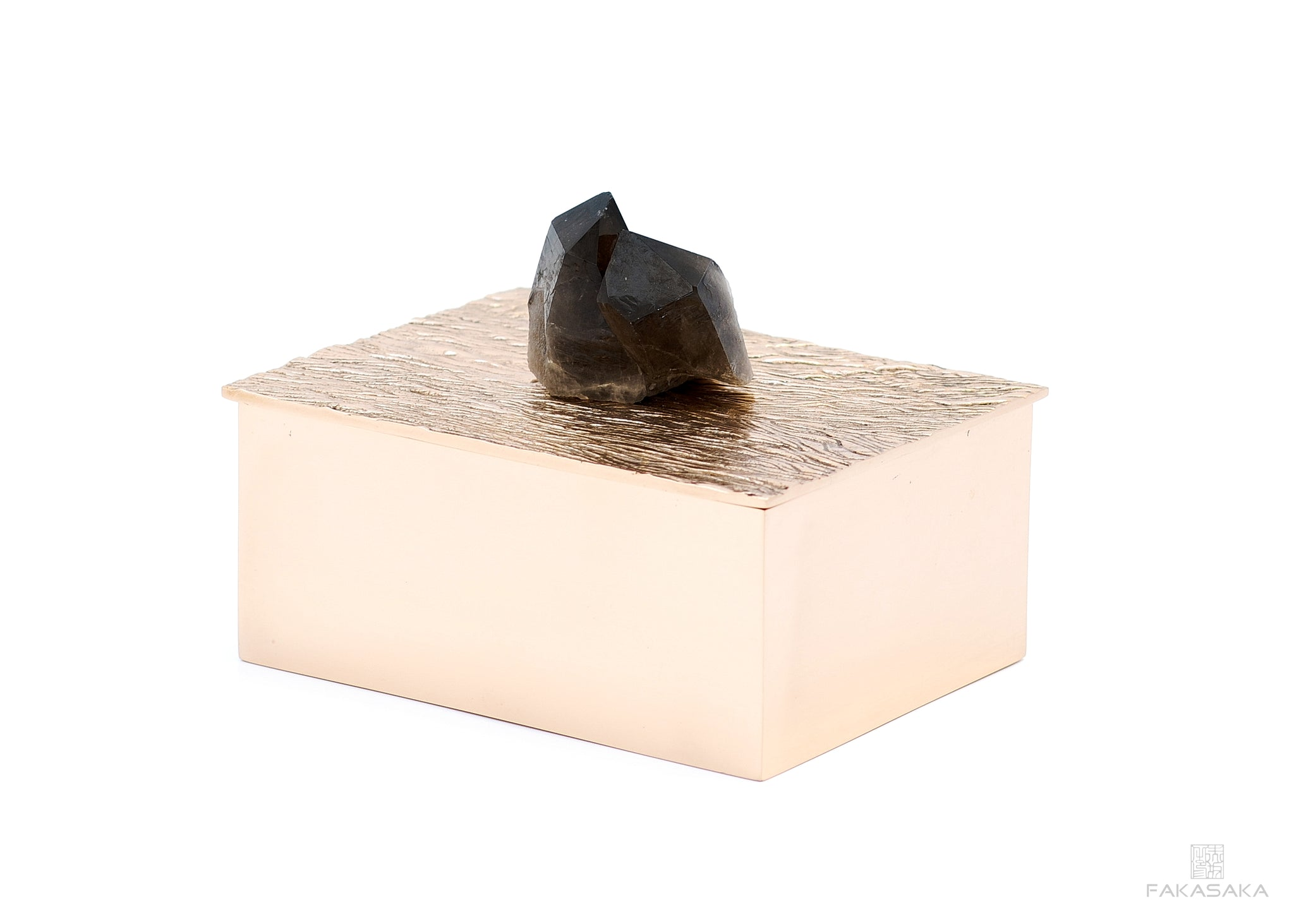 NICKS BOX<br>BLACK QUARTZ ON TOP<br><br>POLISHED BRONZE