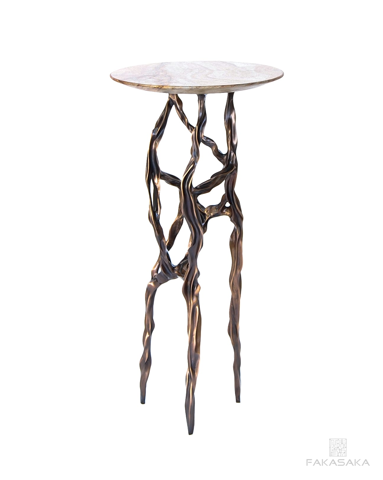 ALEXIA DRINK TABLE<br><br>BLUE MARE QUARTZITE<br>DARK BRONZE