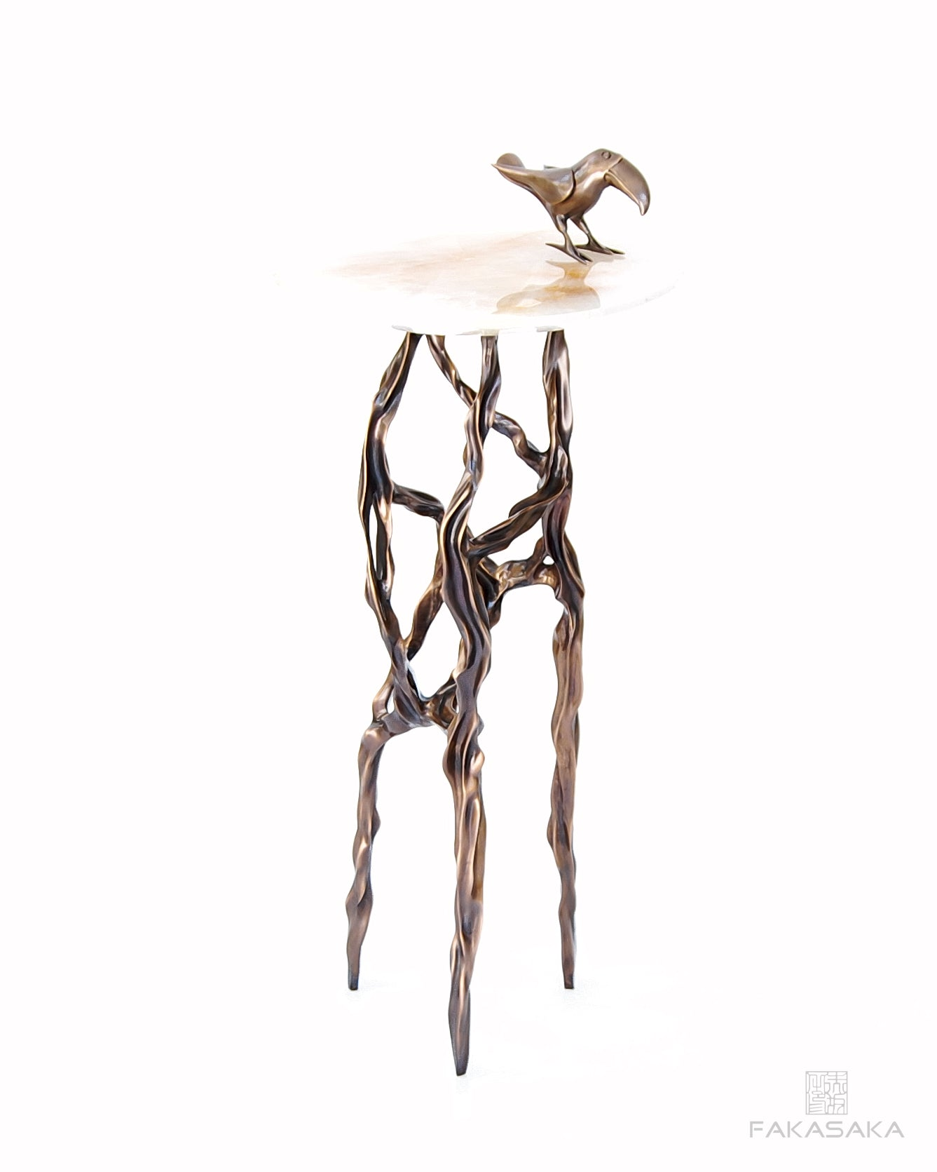 ALEXIA DRINK TABLE<br><br>TRANSLUCENT ONYX<br>DARK BRONZE