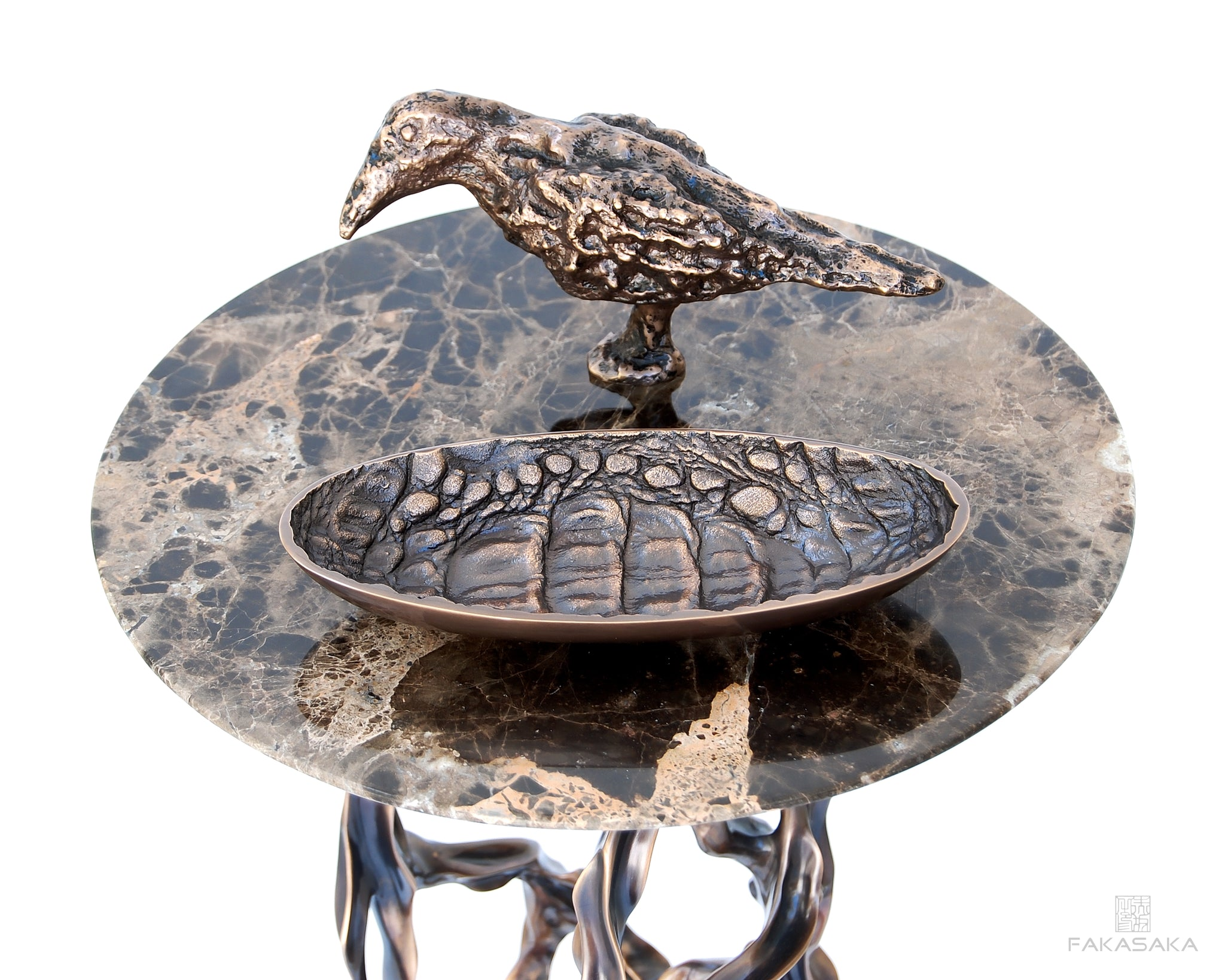 BLACKBIRD<br>SCULPTURE / PAPER WEIGHT<br>BOOKEND / DOORSTOP<br><br>POLISHED BRONZE<br>ONYX BASE
