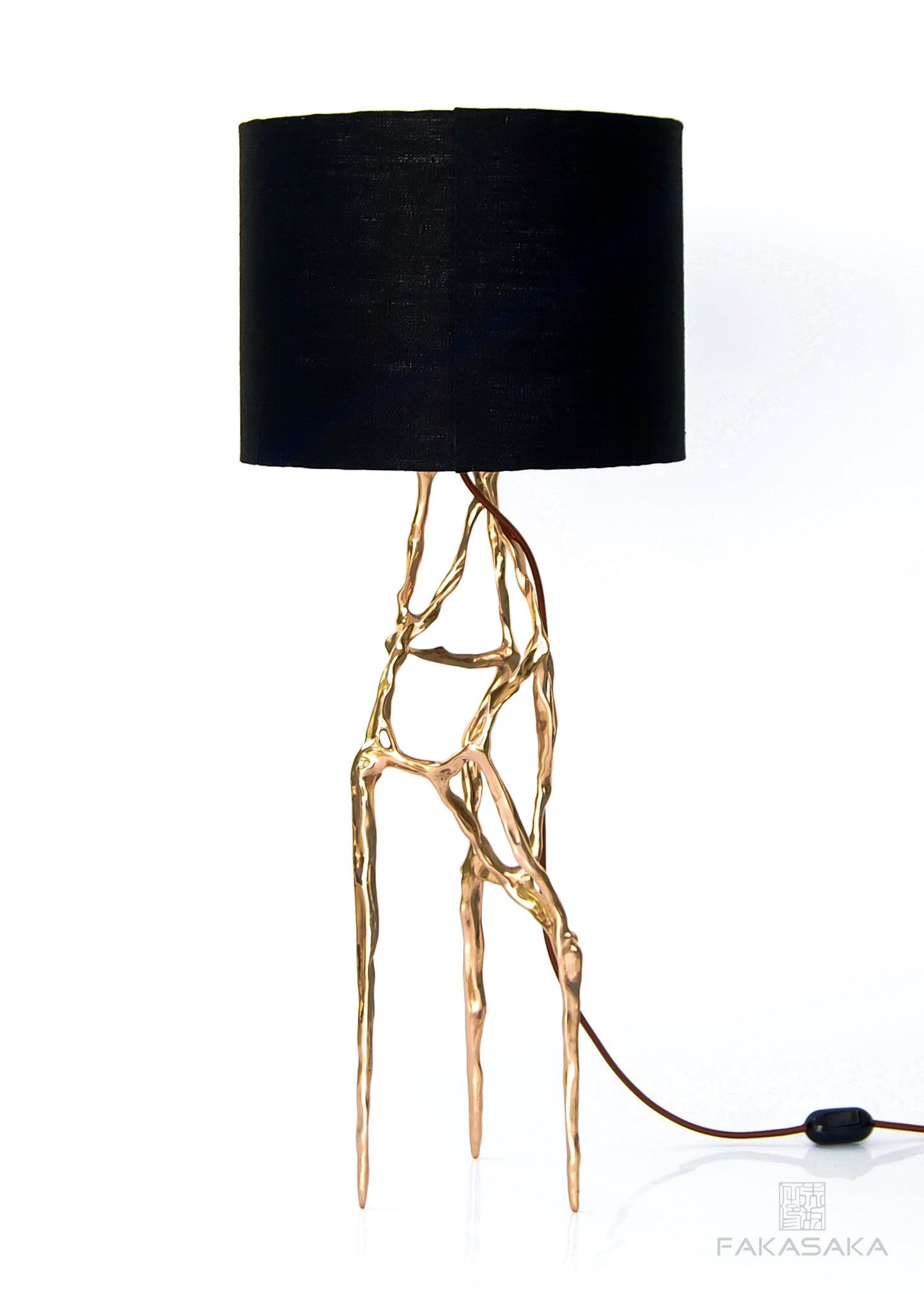 ALEXIA TABLE LAMP<br><br>BLACK LINEN SHADE<br>POLISHED BRONZE