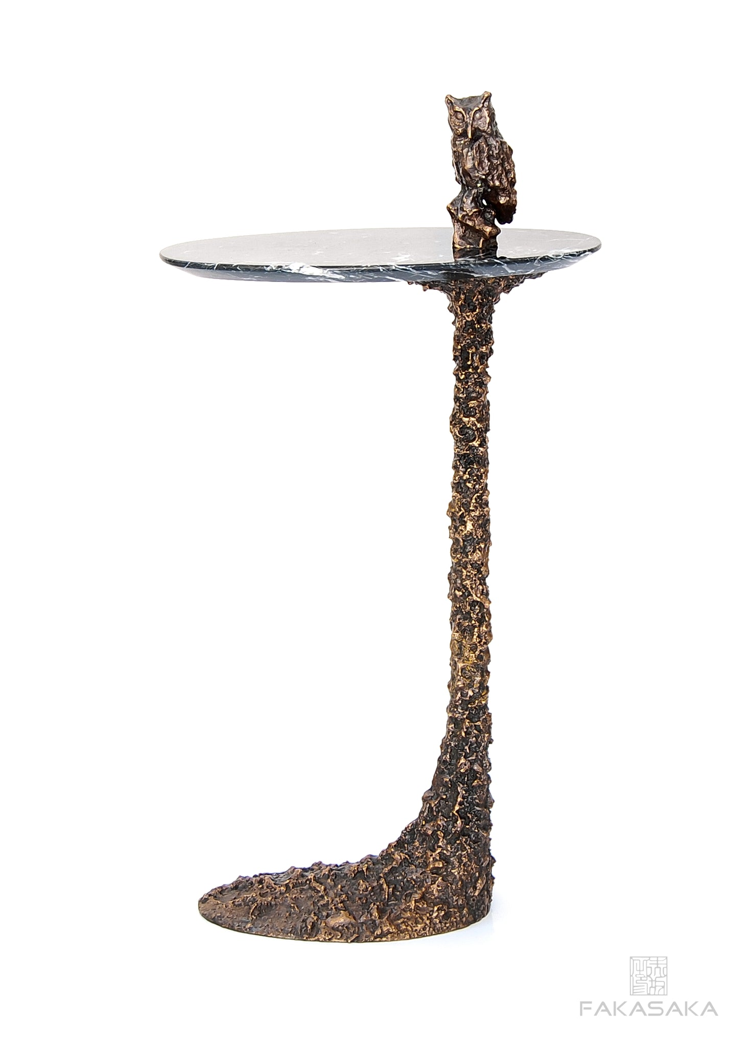 KEEF DRINK TABLE<br><br>NERO MARQUINA MARBLE<br>DARK BRONZE