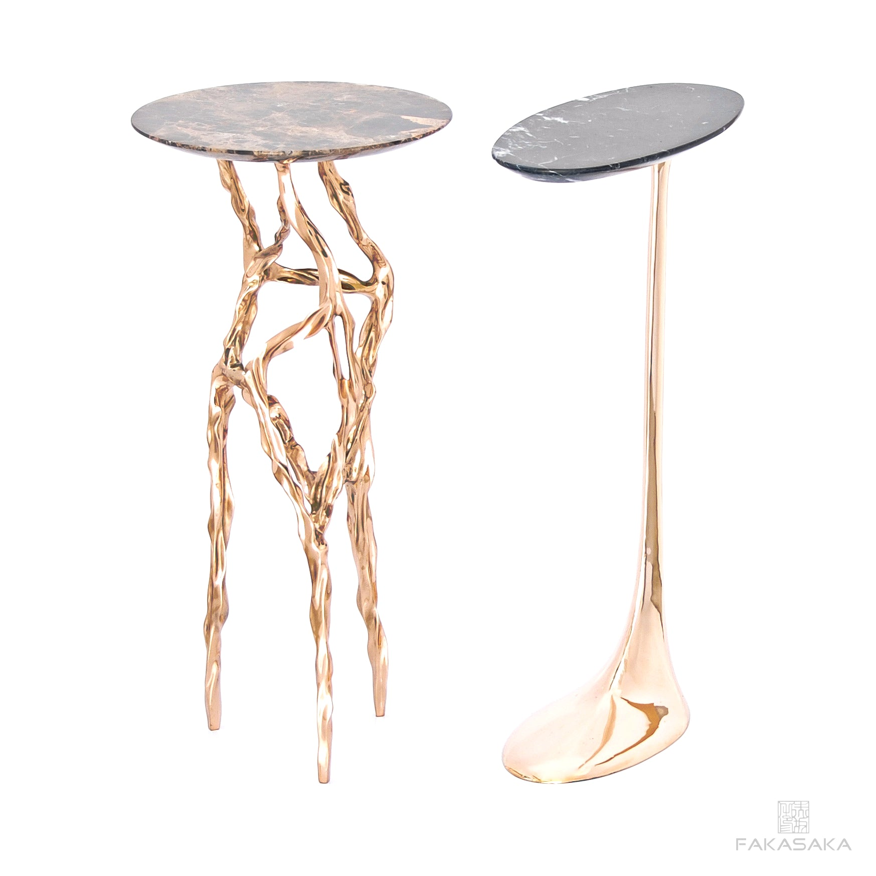 JAGGER DRINK TABLE<br><br>NERO MARQUINA MARBLE<br>POLISHED BRONZE