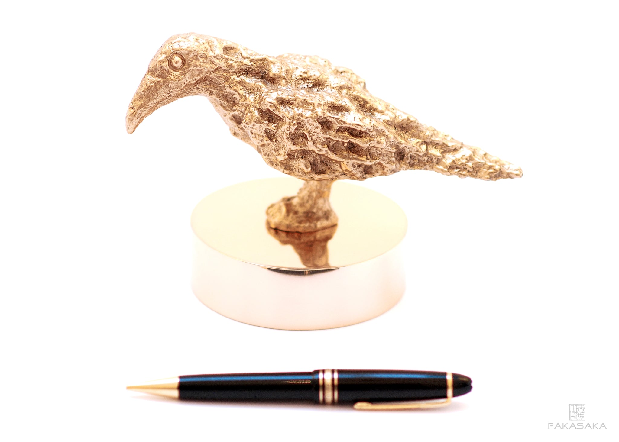 BLACKBIRD<br>SCULPTURE / PAPER WEIGHT<br>BOOKEND / DOORSTOP<br><br>POLISHED BRONZE<br>BRONZE BASE