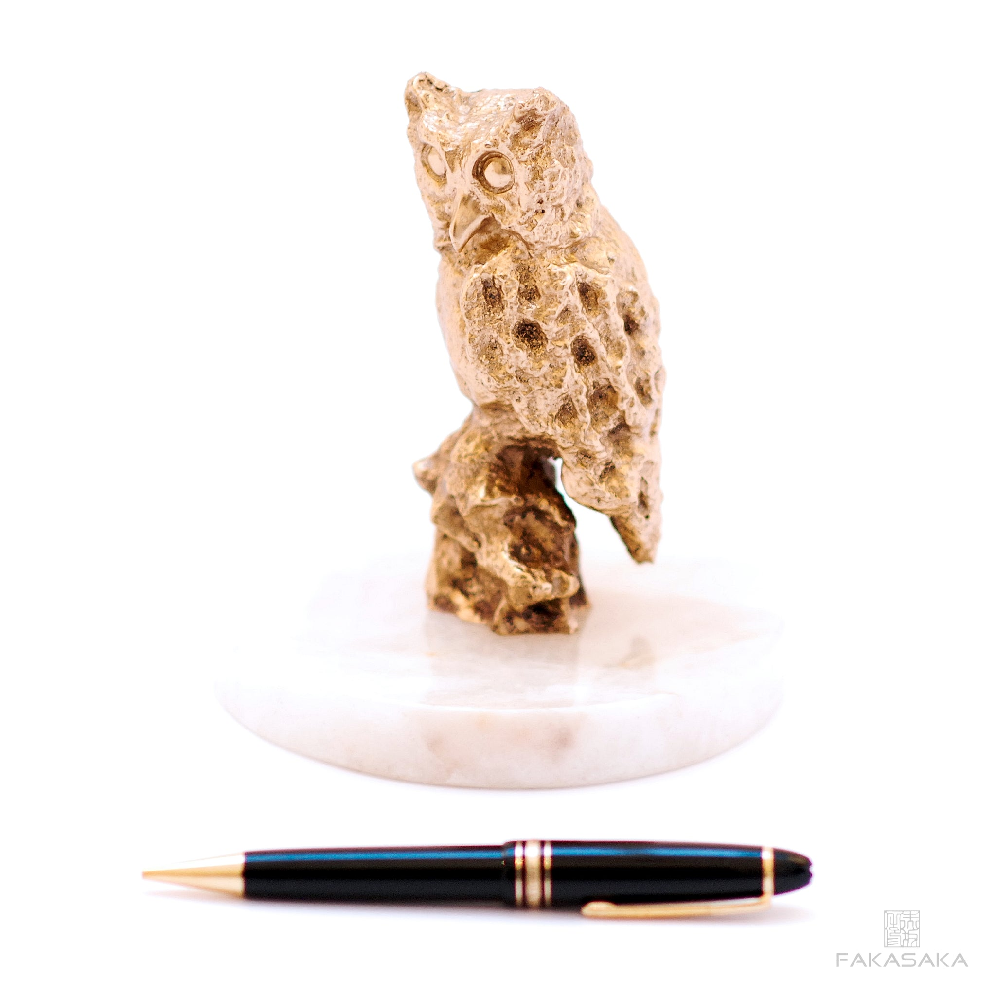 OWL SCULPTURE / PAPER WEIGHT<br><br>POLISHED BRONZE<br>ONYX BASE