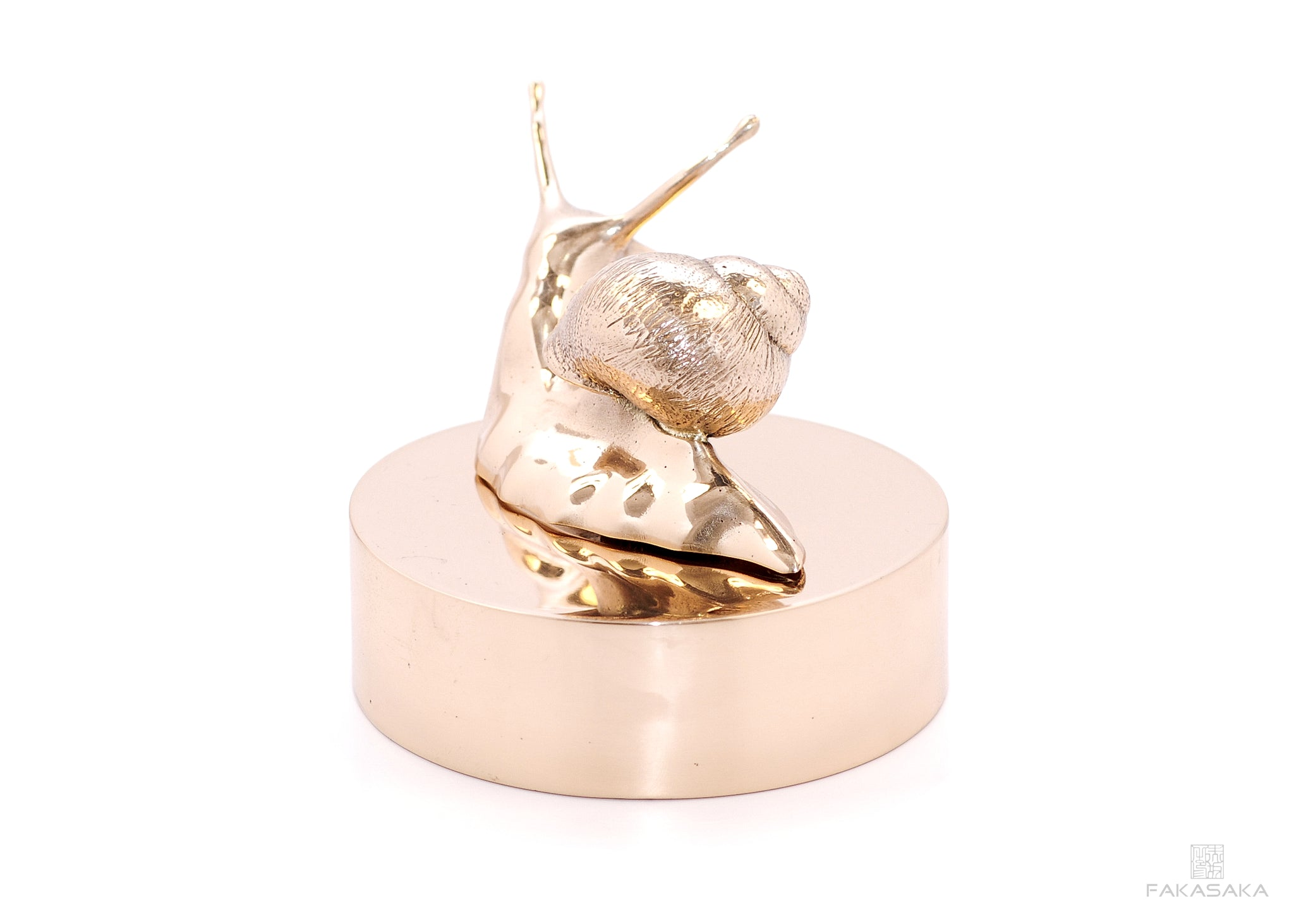 L' ESCARGOT DROITE<br><br>SCULPTURE / PAPER WEIGHT<br><br>POLISHED BRONZE<br>BRONZE BASE