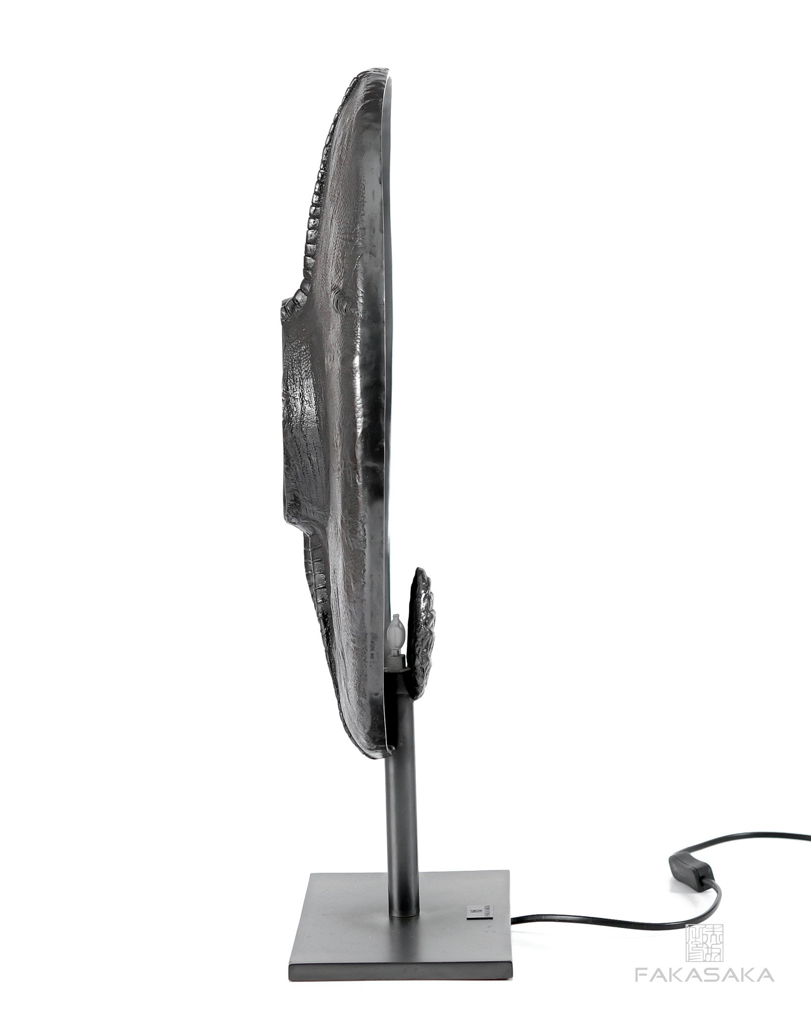 E-BOW TABLE LAMP / SCULPTURE<br><br>DARK BRONZE