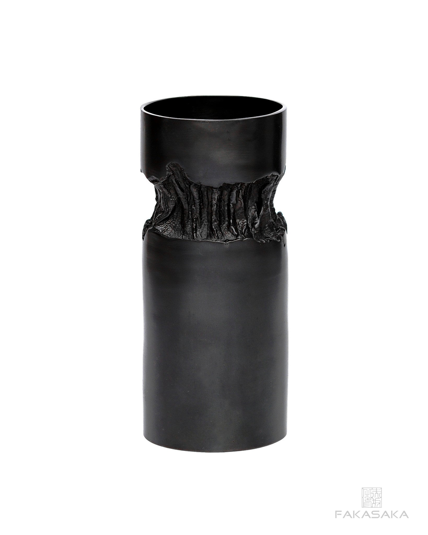 METAL HEART 2 VASE<br><br>DARK BRONZE