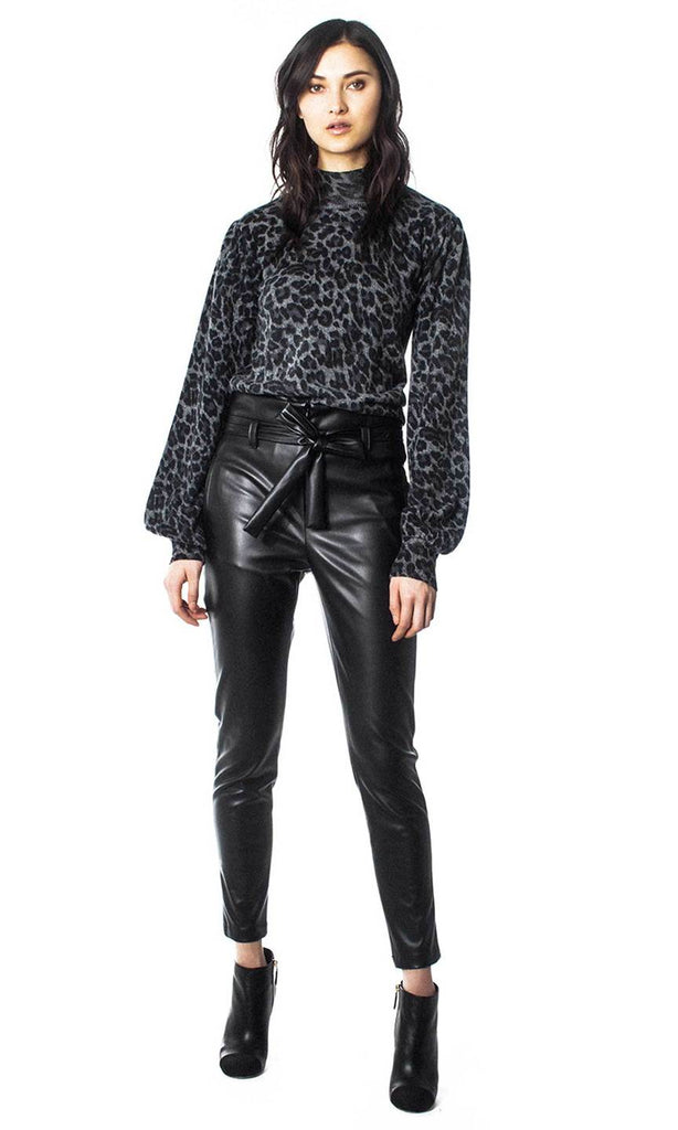 Leather Pants with Tie Waist