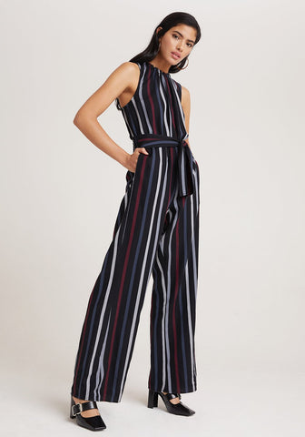 Smocked Tie Neck Jumpsuit