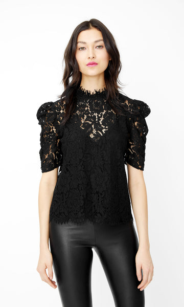 Lace Top W/ Puff Sleeve