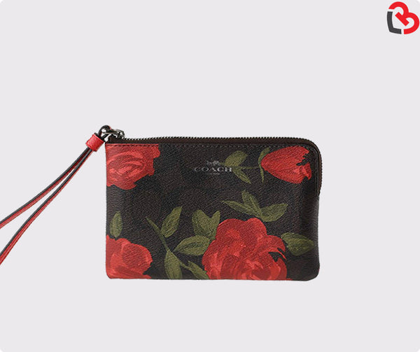 Coach Corner Zip Wristlet With Camo Rose Floral Print (F26291)