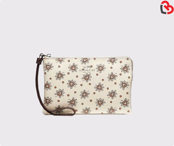 Coach Corner Zip Wristlet In Forest Bud Print Coated Canvas (F13315)