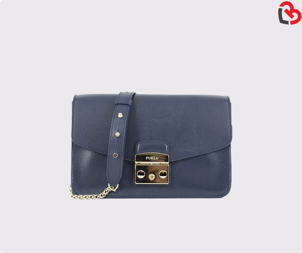 Furla Navy Metropolis Small Shoulder Bag